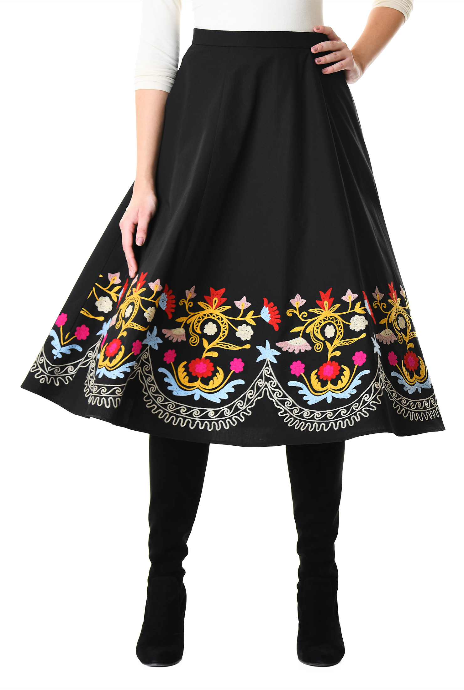Womens Fashion Clothing 0 36w And Custom Petal Skirt Black Back Zip Skirts Banded Waist Multi Cotton Spandex