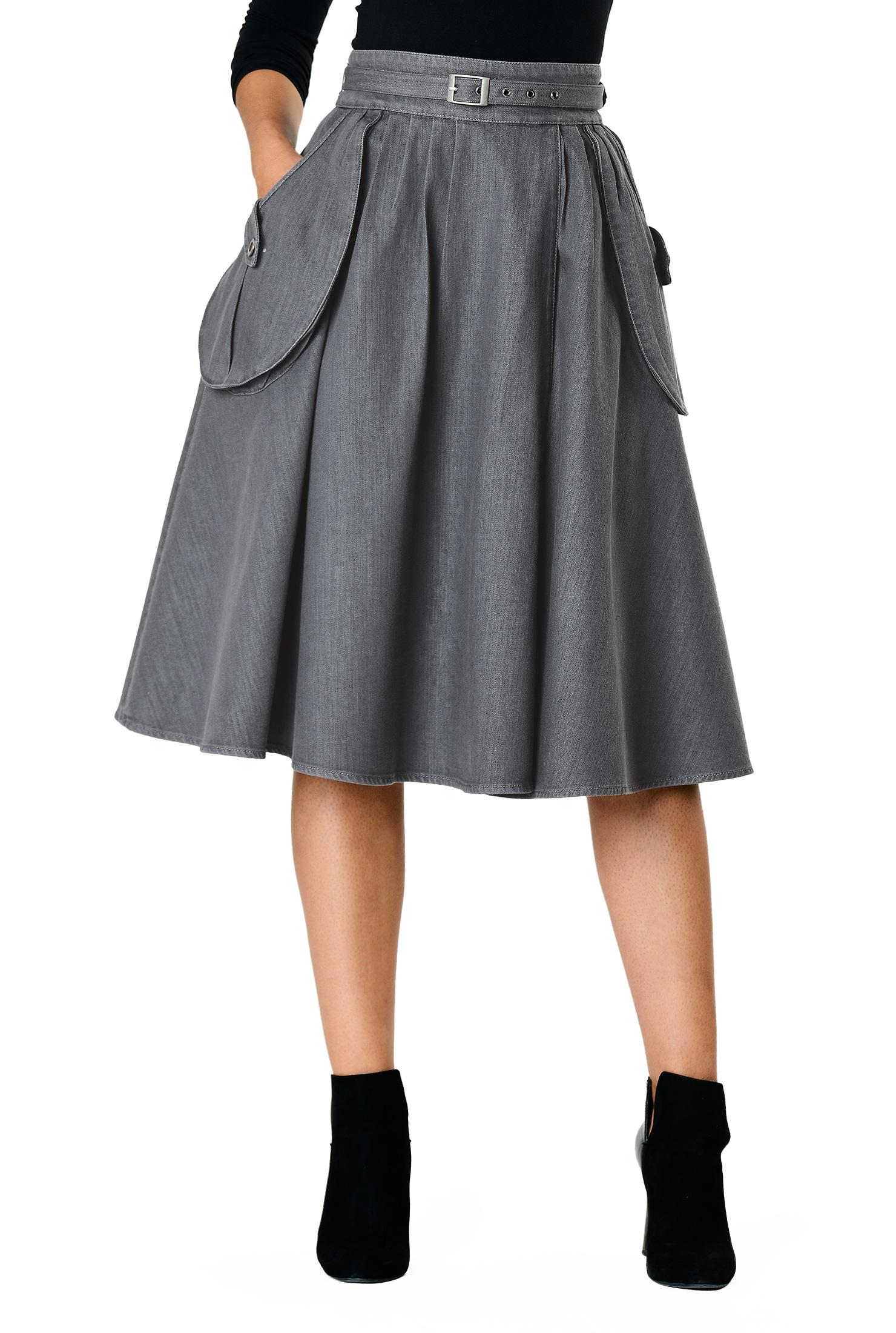 4debdf9f9c1c banded waist skirts, below knee length skirts, cotton skirts, Cotton /polyamide