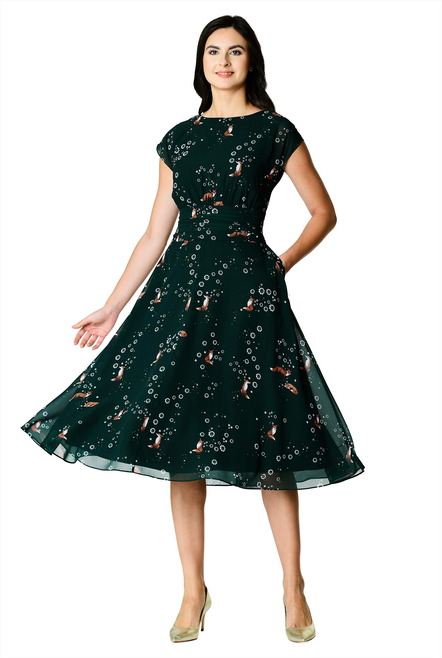 f09f3686d1e3 ... Fox floral print pleated empire georgette dress.