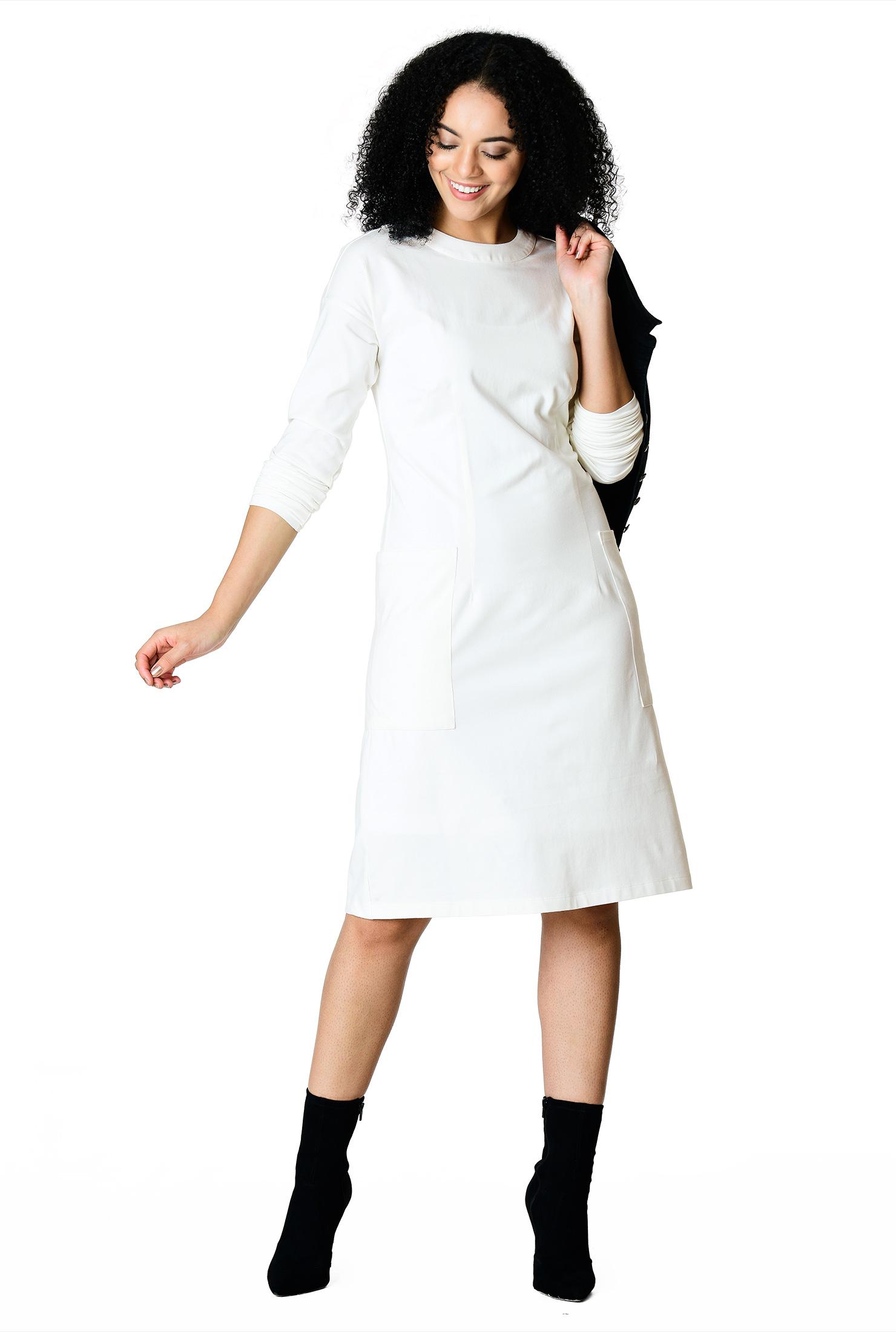 2bbec84e9 below knee length dresses, cloud white dresses, cotton/spandex Dresses,  dolman
