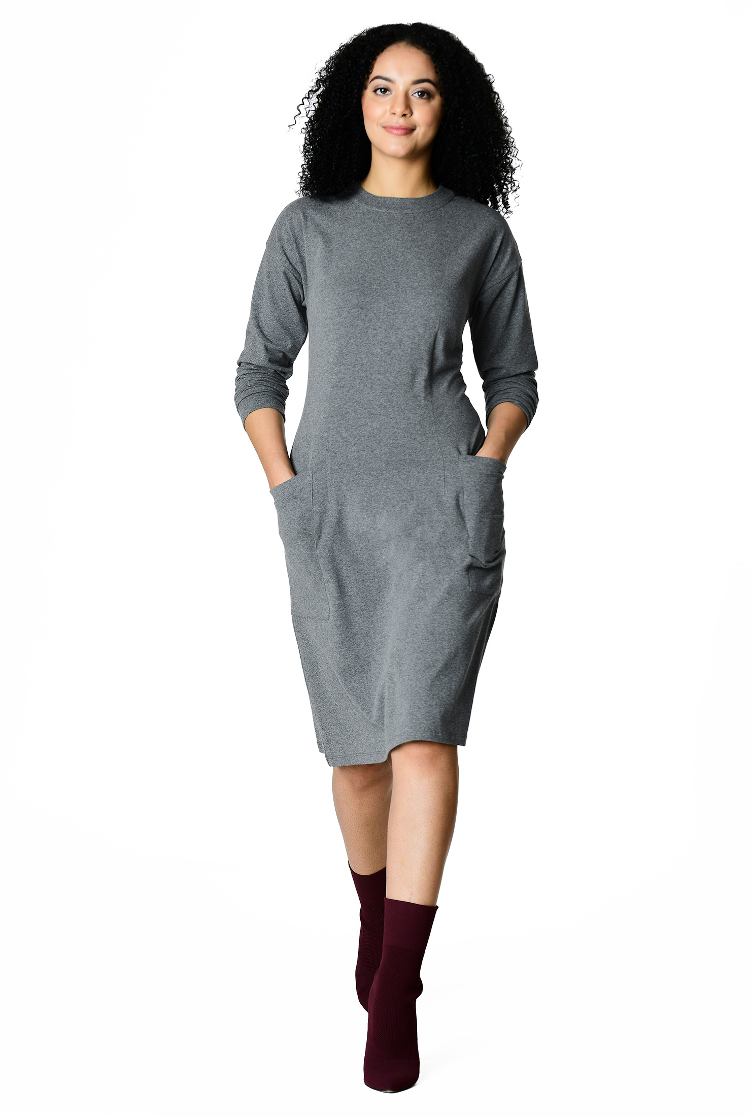 53e443f8b below knee length dresses, Charcoal Dresses, cotton/spandex Dresses, dolman  sleeve