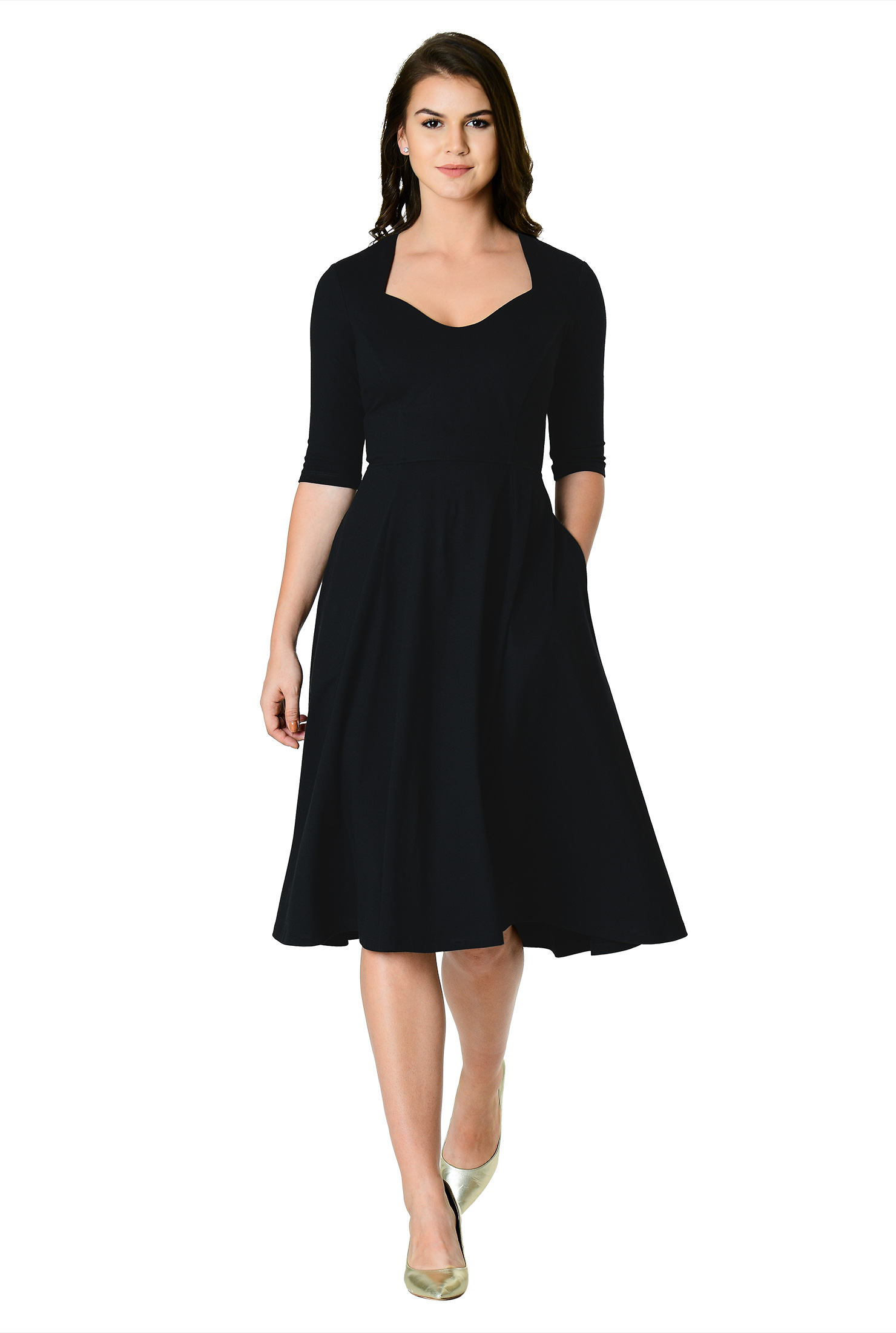 1950s Cocktail Dresses, Party Dresses Sweetheart cotton knit fit-and-flare dress $69.95 AT vintagedancer.com