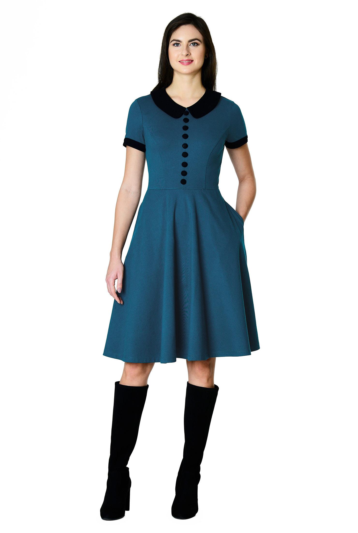 , back zip dresses, Contrast Collar Dresses, elastic waist dresses, fit-and-flare dresses, knee length dresses, peacock blue dresses, pocket dresses, Short sleeve dresses