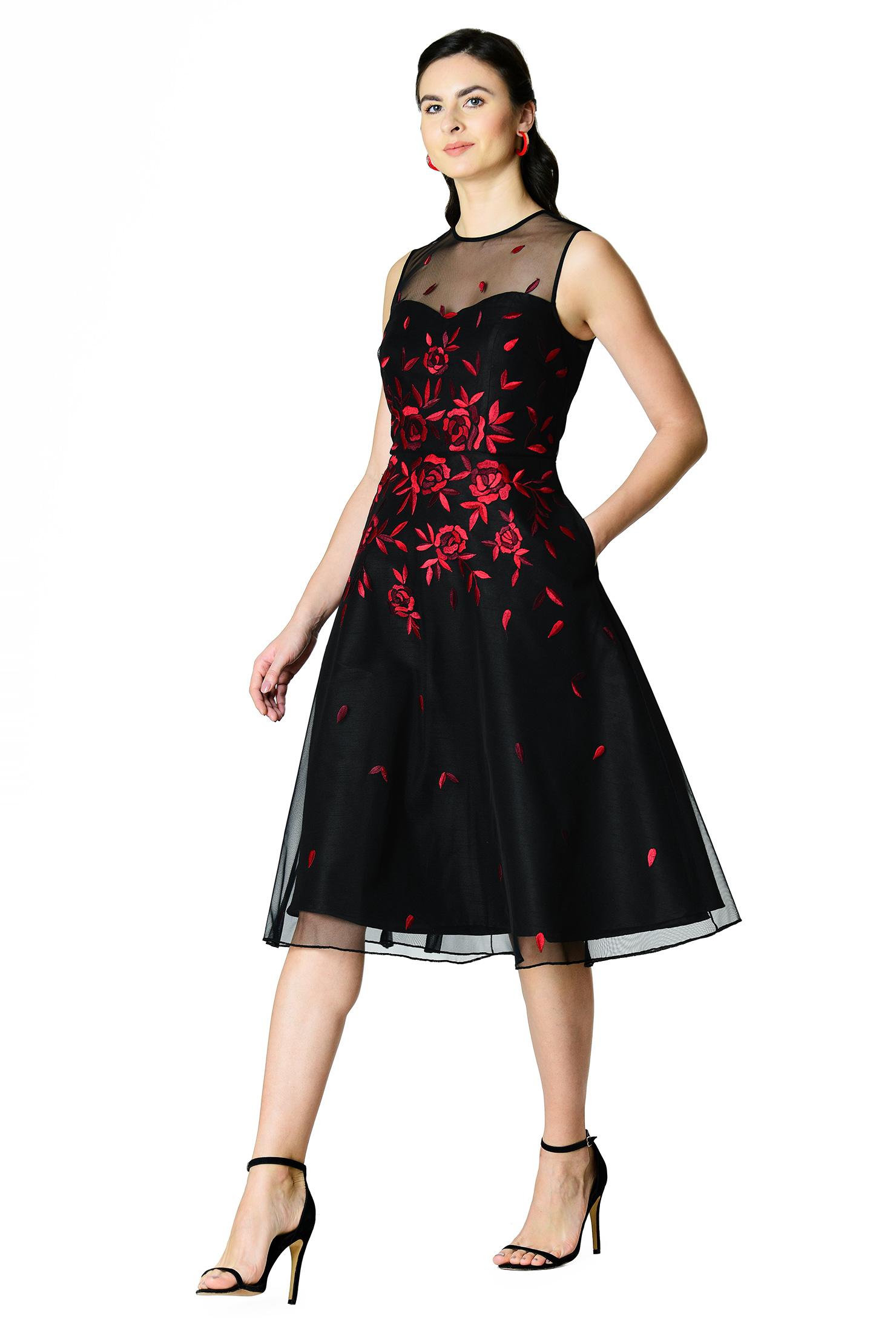 Illusion tulle rose embellished dupioni dress