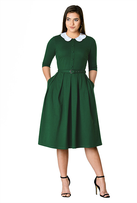 Fifties Dresses : 1950s Style Swing to Wiggle Dresses Scallop poplin collar cotton knit shirtdress $69.95 AT vintagedancer.com