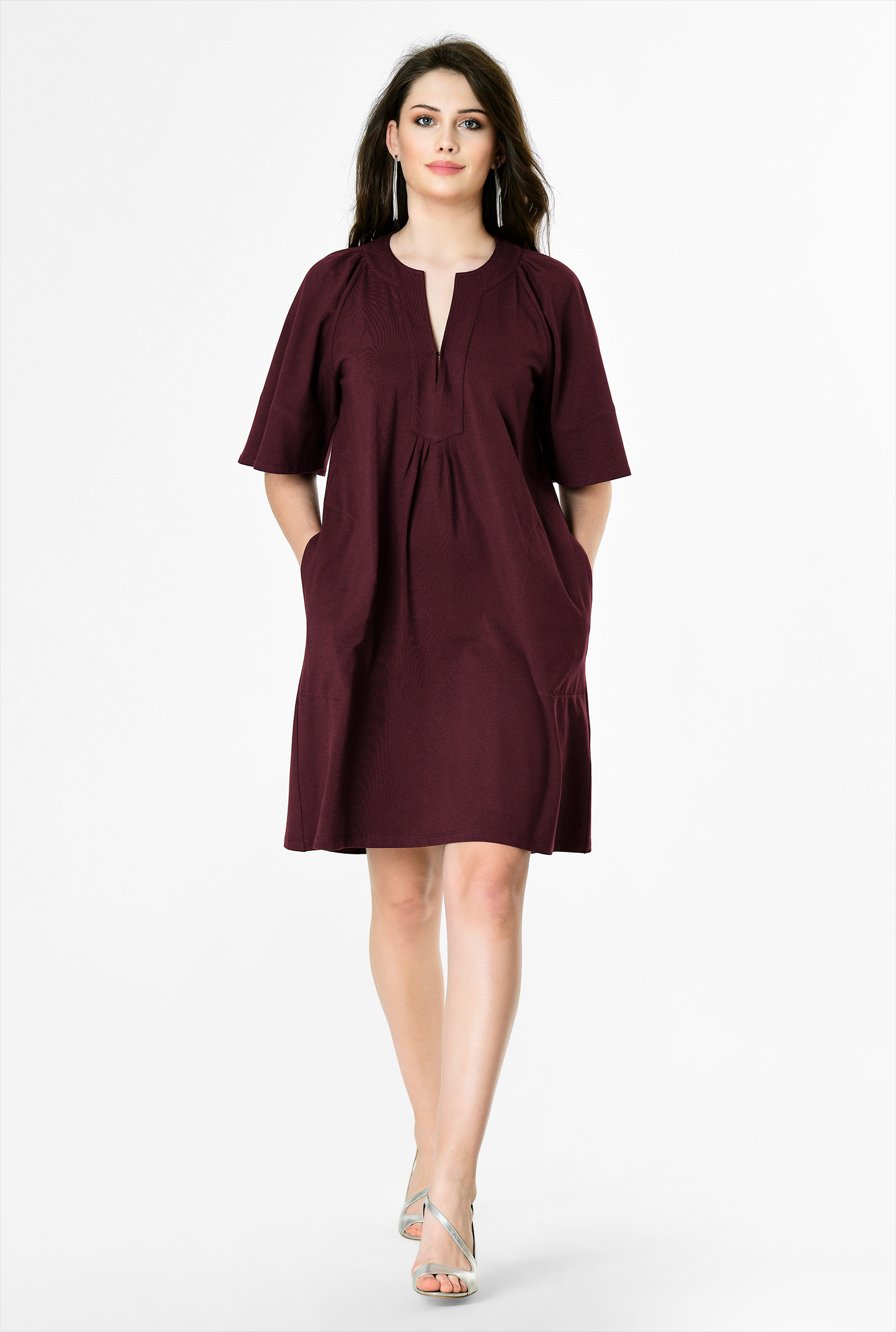 4f42957ea020fa Home · Tops  Bell sleeve cotton knit tunic dress.