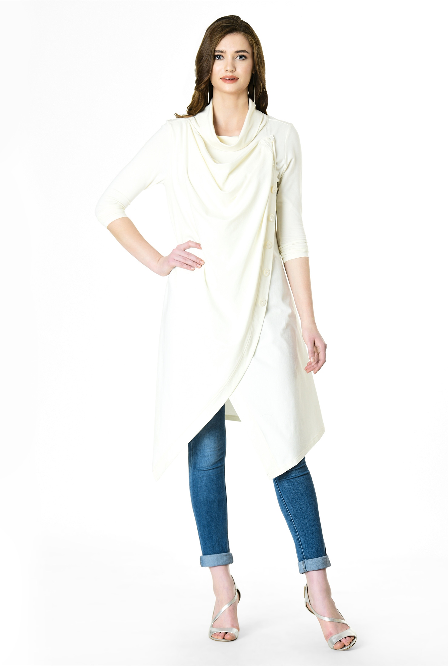 aeed4c038d1ee ... cotton knit asymmetric wrap tunic. zapelle.