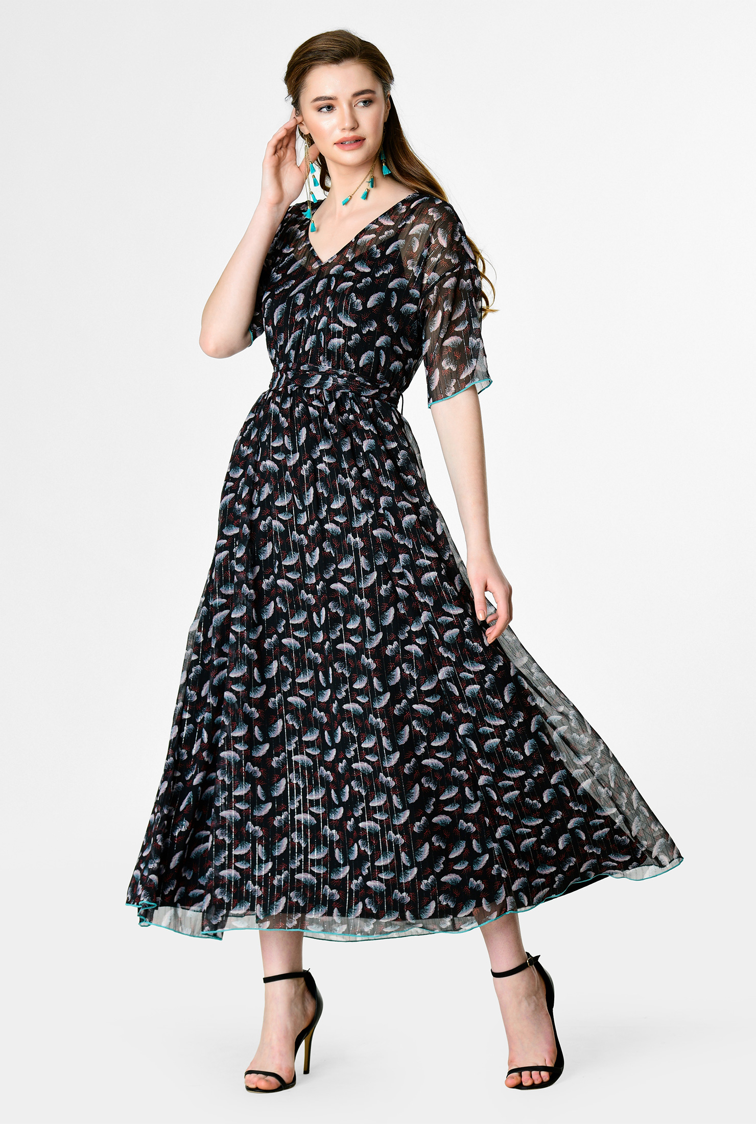 Shaffon Floral Dress with Sash