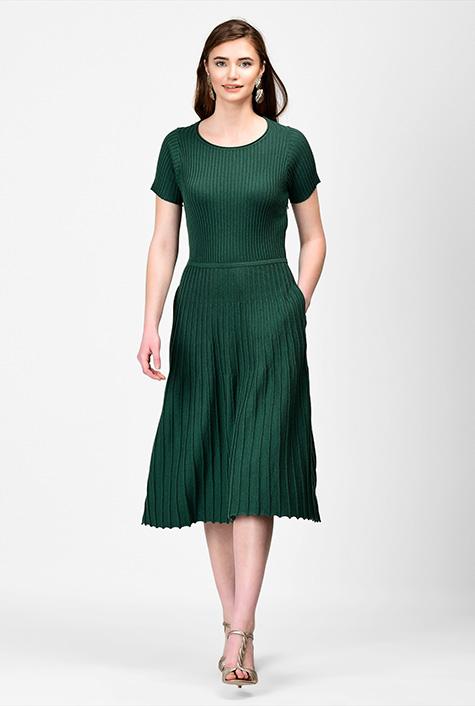 1930s Day Dresses, Tea Dresses, House Dresses Accordian fit-and-flare knit dress $129.95 AT vintagedancer.com