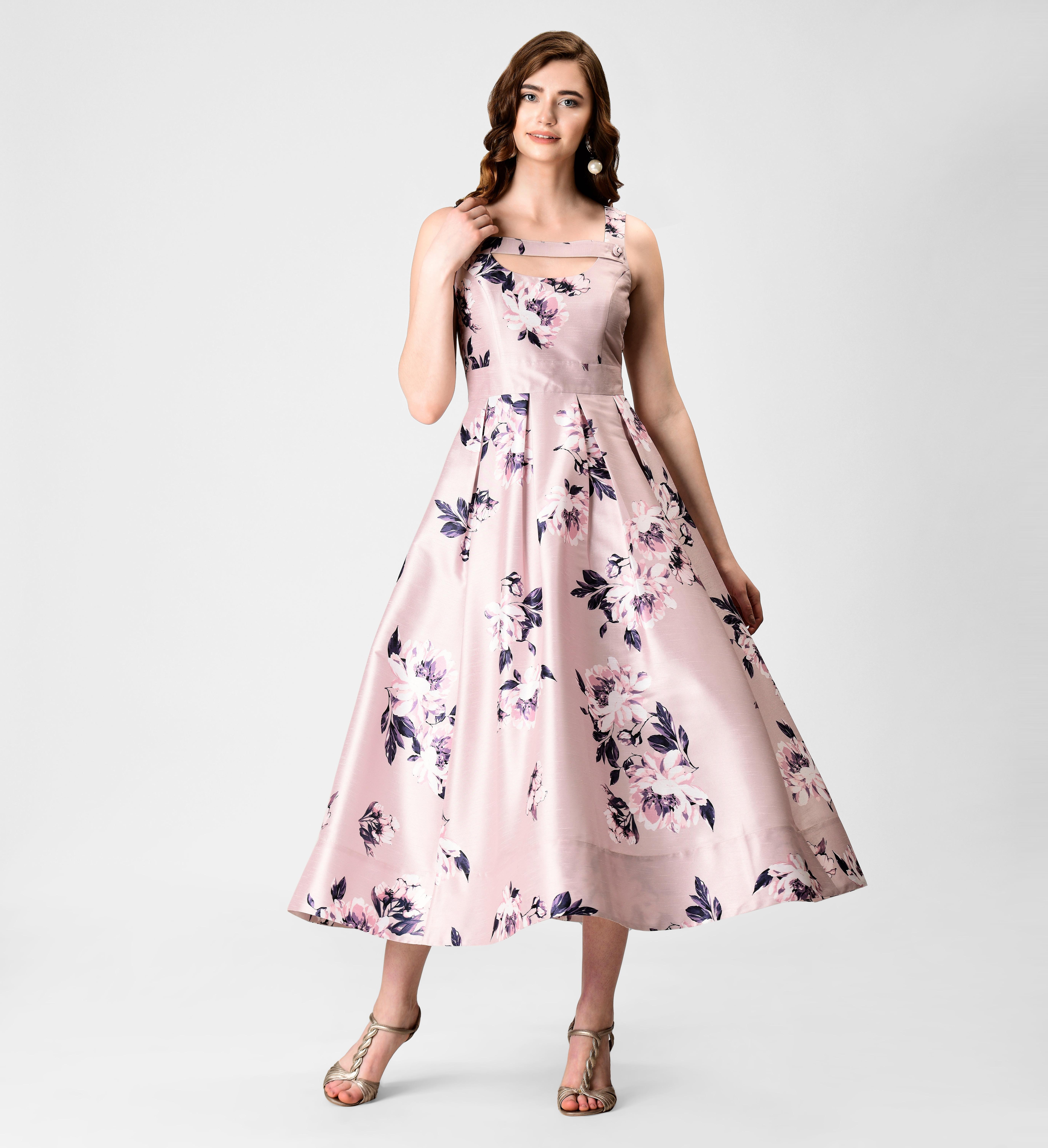 Button tab floral print dupioni dress