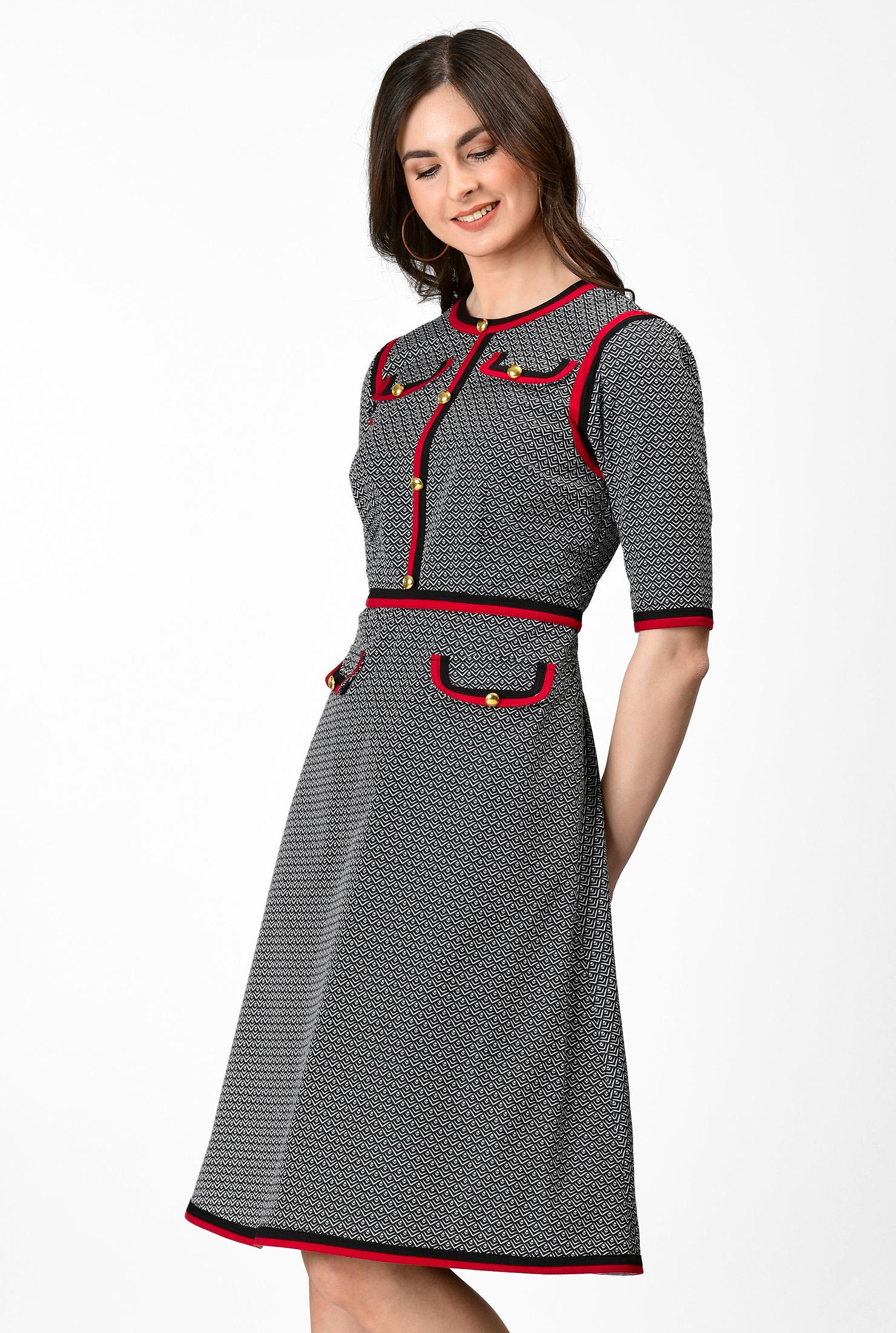 1960s Dresses | 60s Dresses Mod, Mini, Jackie O, Hippie Geo print cotton twill contrast trim A-line dress $74.95 AT vintagedancer.com
