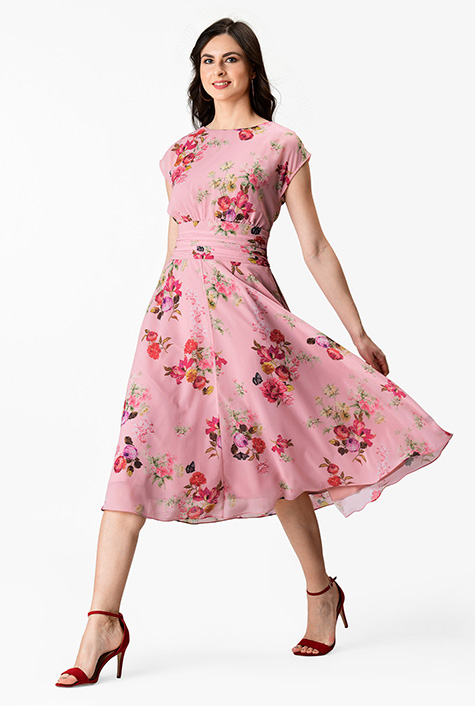 0f9ed9e459f7 Floral print pleated empire georgette dress