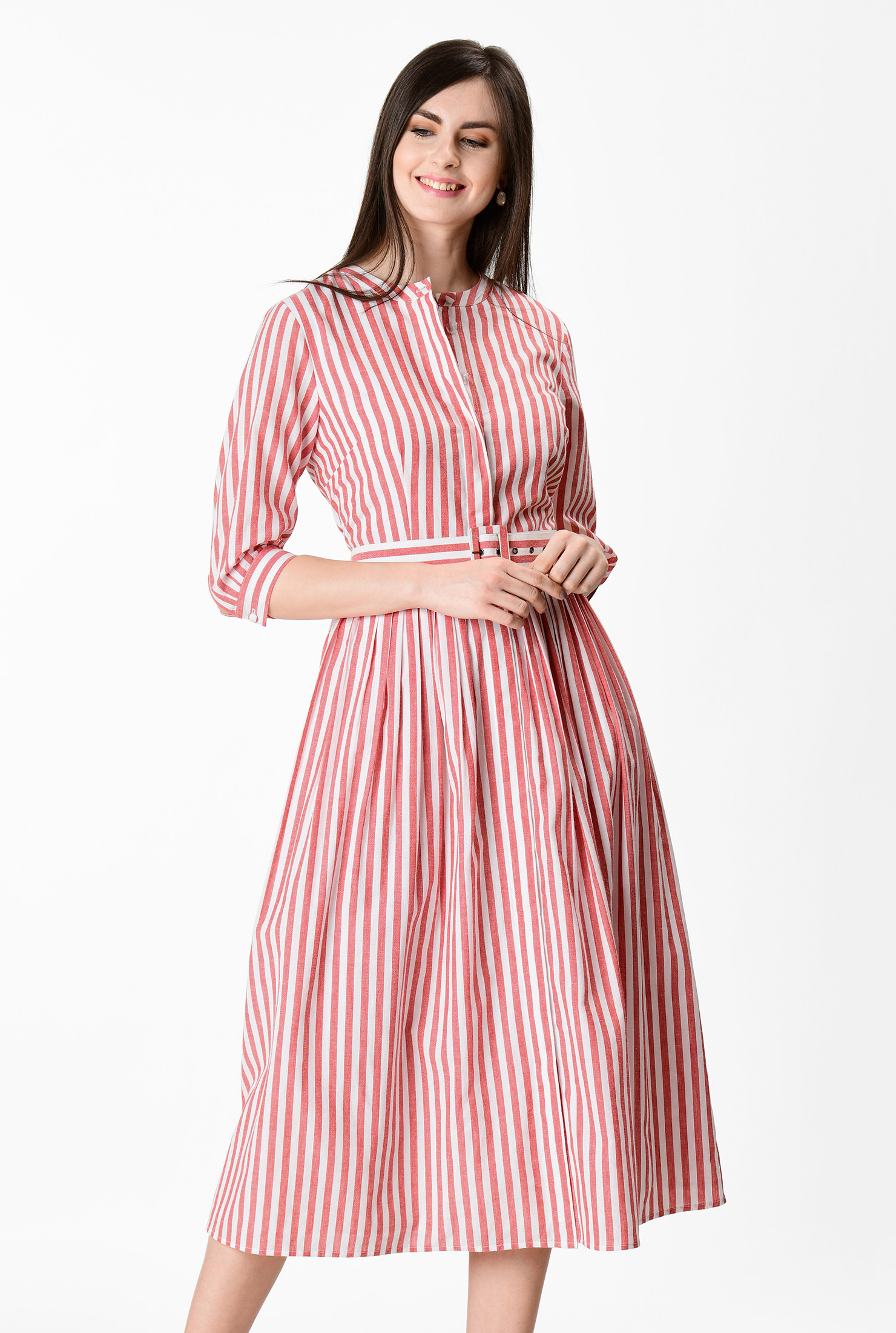 Fifties Dresses : 1950s Style Swing to Wiggle Dresses Stripe cotton belted shirtdress $69.95 AT vintagedancer.com
