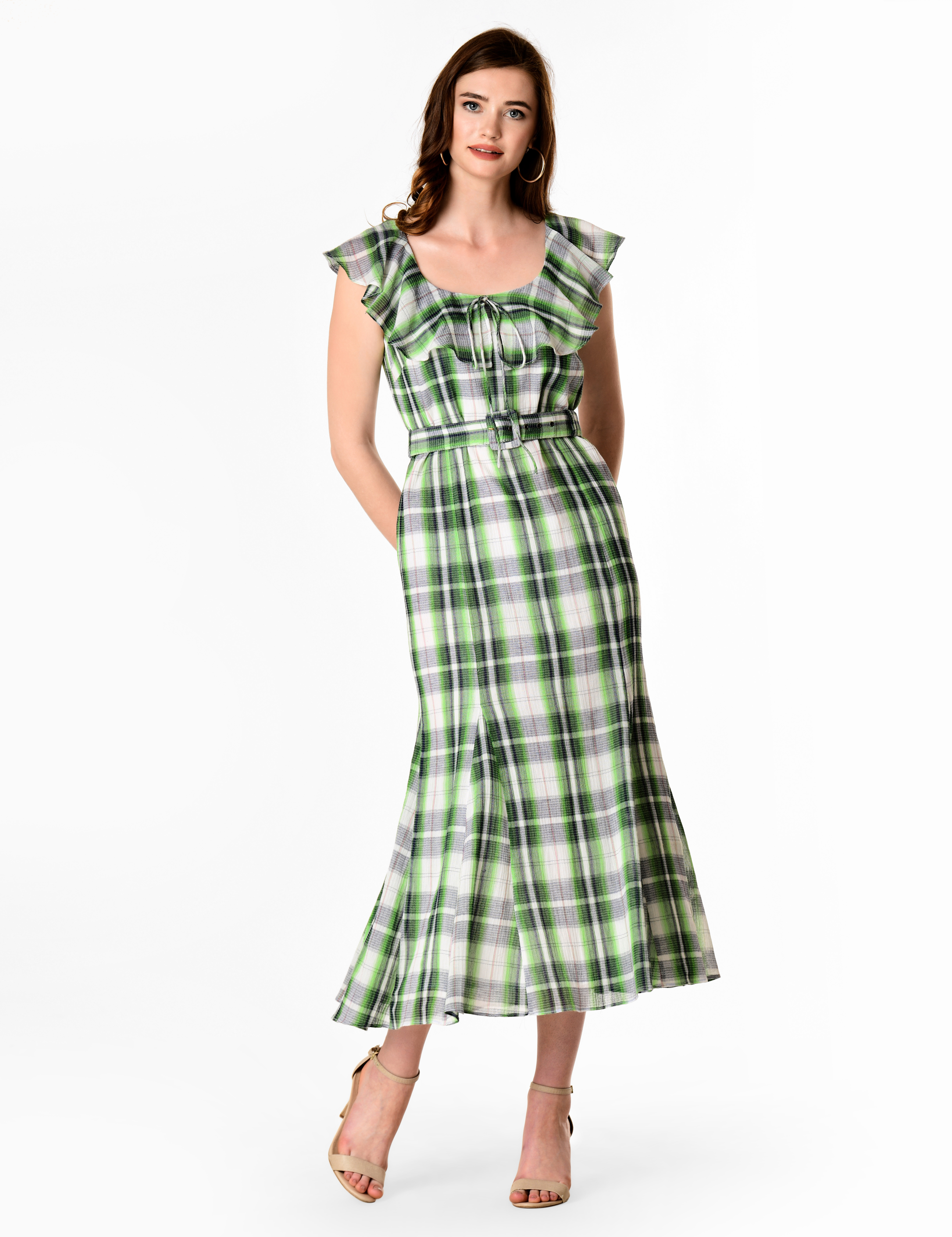 500 Vintage Style Dresses for Sale Ruffle cotton check gauze fluted high-low dress $69.95 AT vintagedancer.com