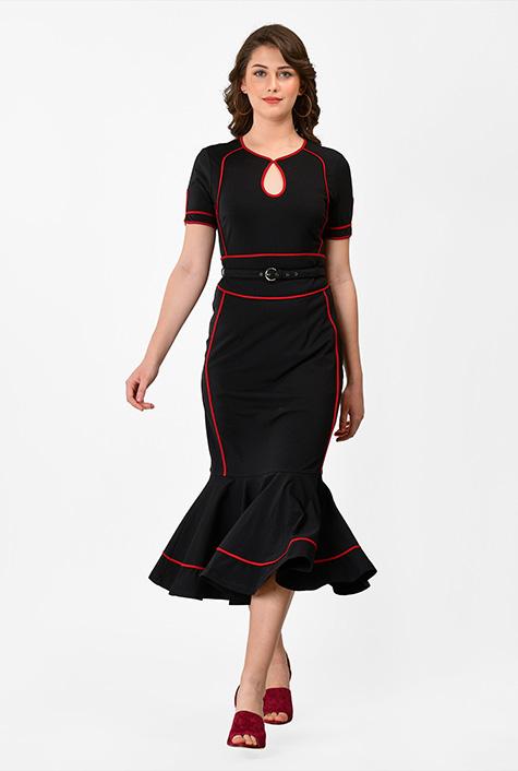 1930s Day Dresses, Tea Dresses, House Dresses Ruffle flounce cotton knit sheath dress $79.95 AT vintagedancer.com