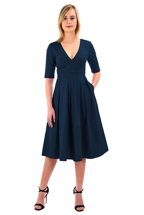 Pintuck pleat poplin fit-and-flare dress