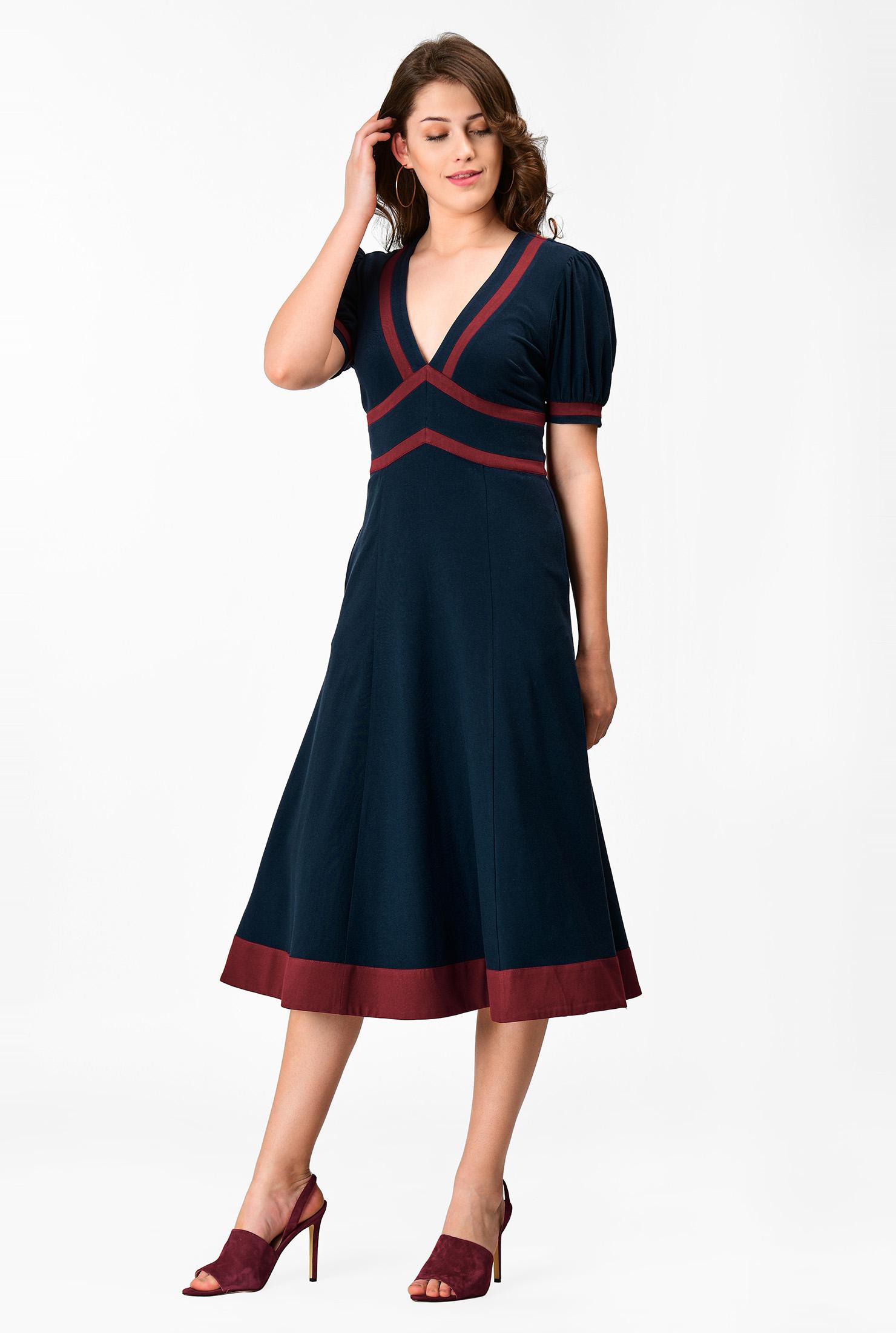 1930s Day Dresses, Afternoon Dresses History Cotton knit contrast trim empire dress $64.95 AT vintagedancer.com