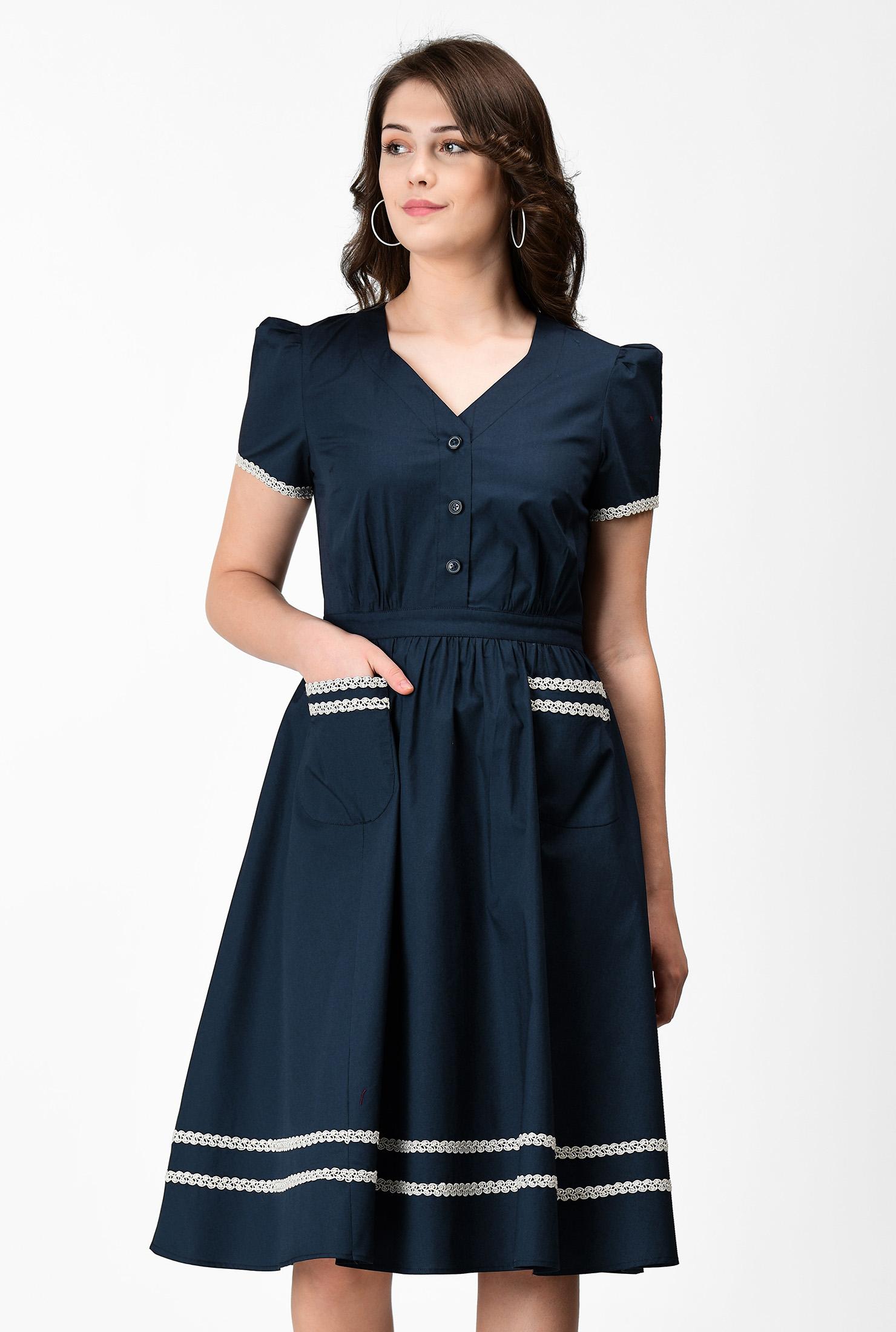 Sailor Dresses, Nautical Theme Dress, WW2 Dresses Lace trim stretch poplin dress $59.95 AT vintagedancer.com
