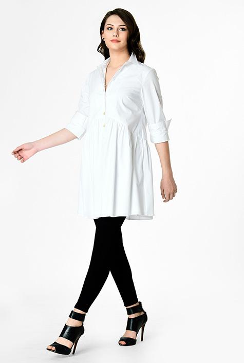 Stretch poplin curved waist tunic shirt