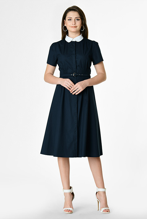 Fifties Dresses : 1950s Style Swing to Wiggle Dresses Stretch poplin contrast collar shirtdress $54.95 AT vintagedancer.com