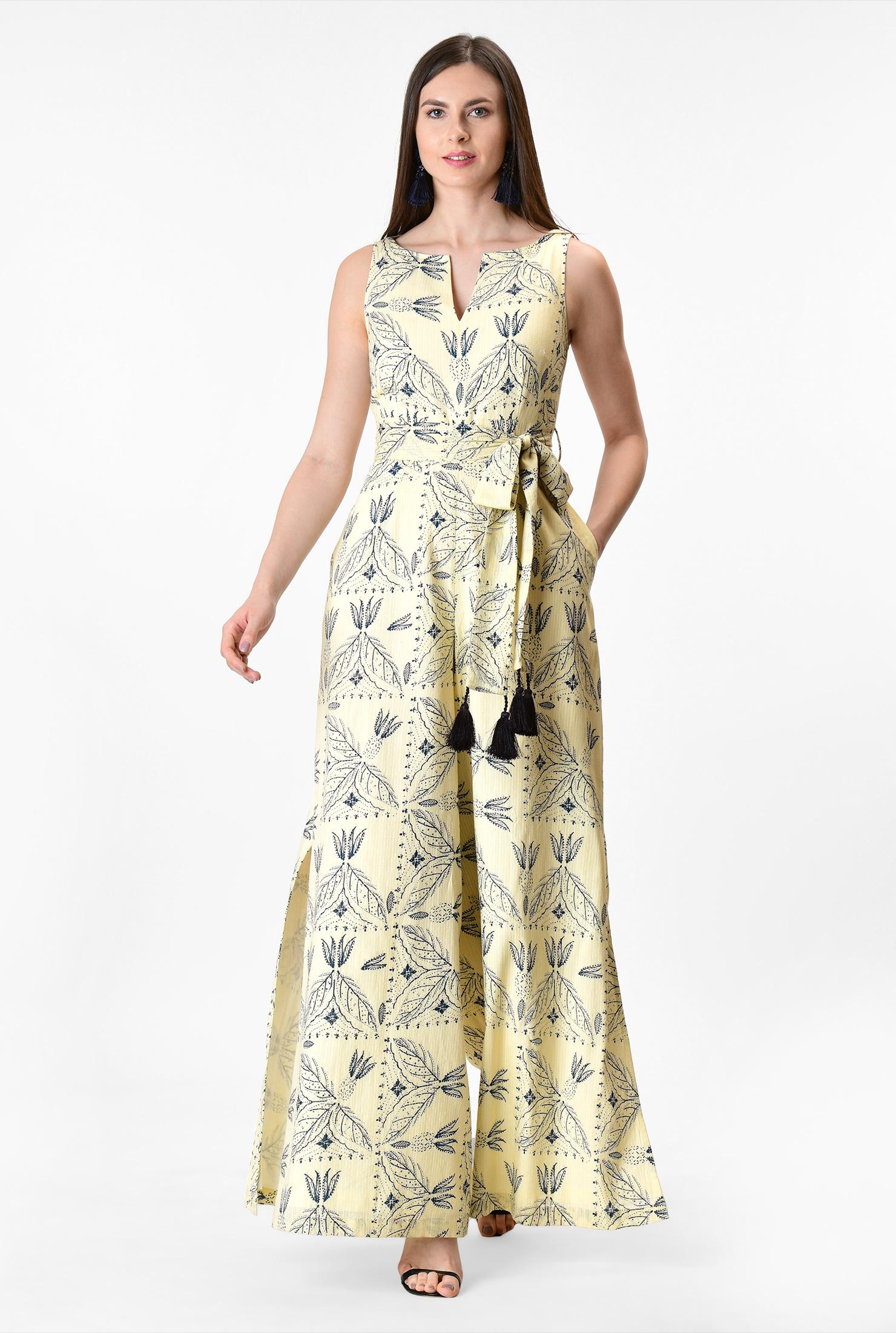 1930s Wide Leg Pants and Beach Pajamas Split neck leaf print cotton jumpsuit $84.95 AT vintagedancer.com