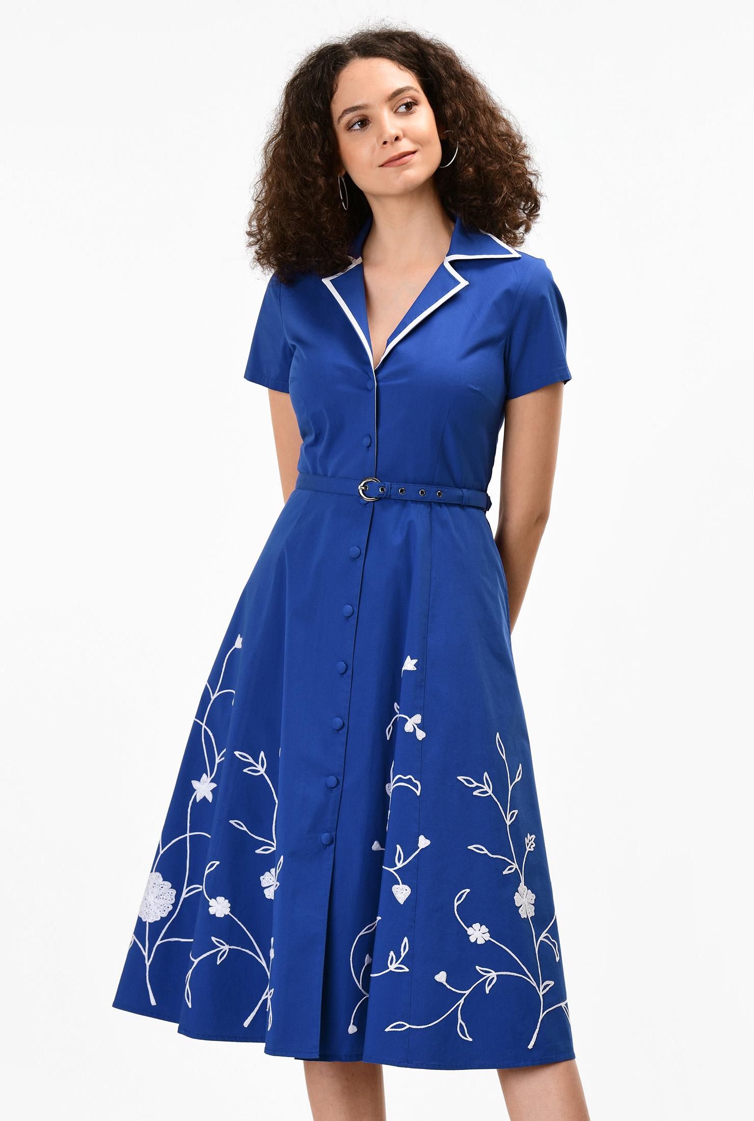 1950s Swing Dresses | 50s Swing Dress Floral embellished stretch poplin shirtdress $69.95 AT vintagedancer.com