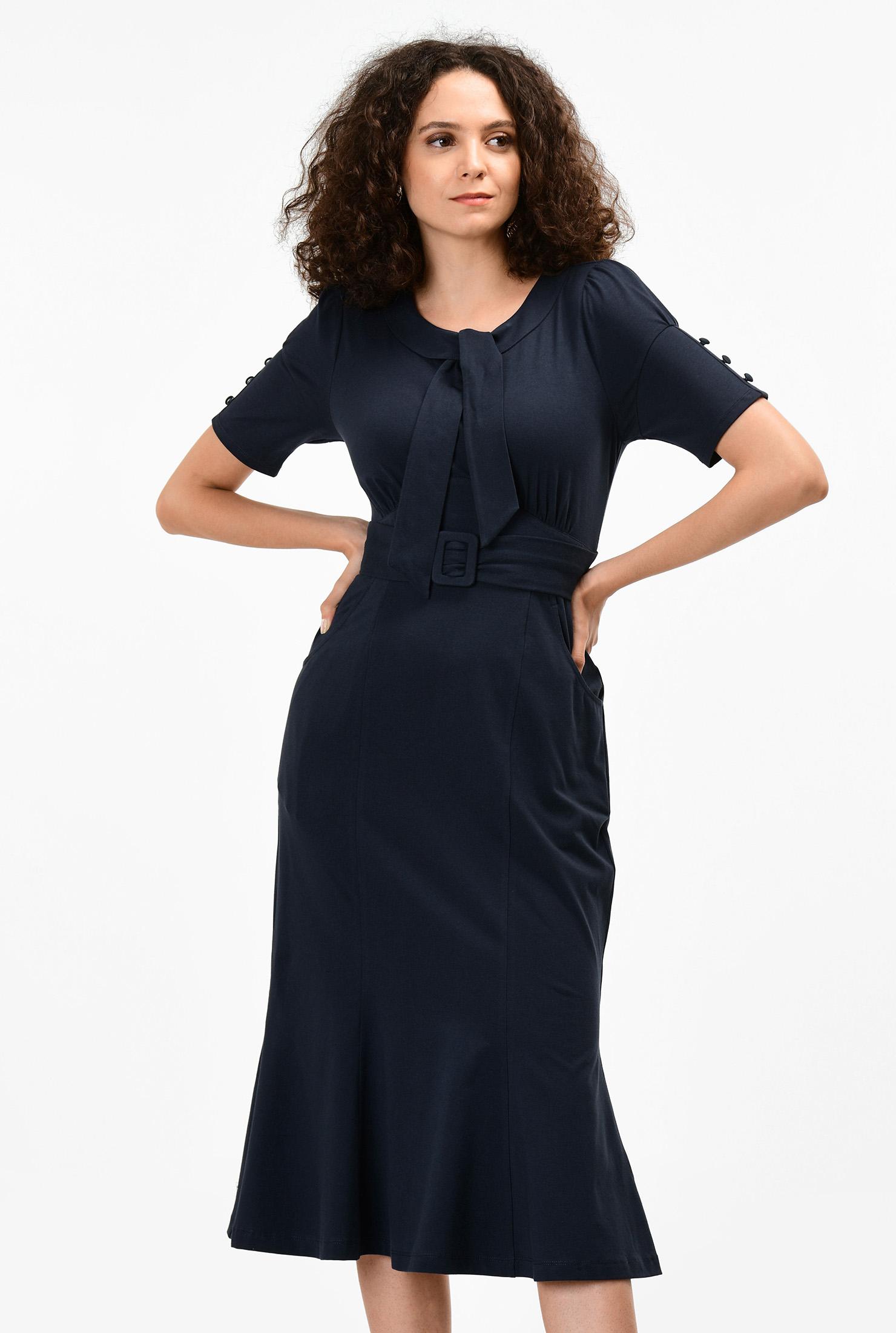 1930s Day Dresses, Tea Dresses, House Dresses Flounce hem cotton knit sheath dress $59.95 AT vintagedancer.com