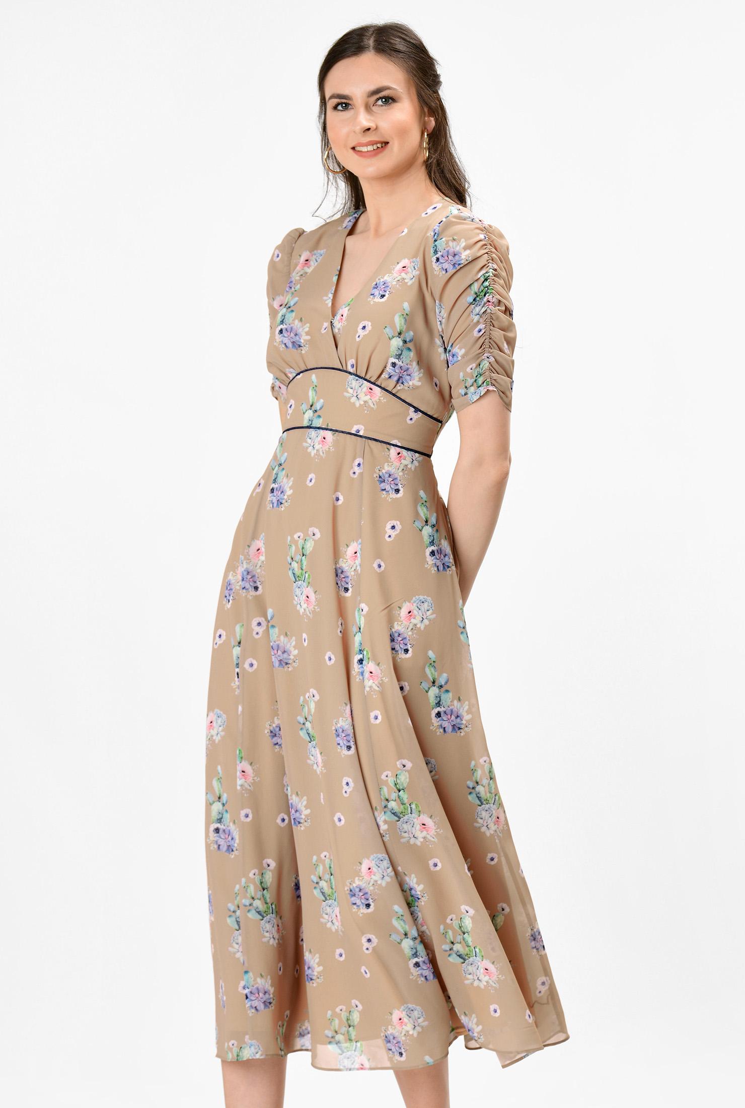1930s Day Dresses, Tea Dresses, House Dresses Floral print banded empire georgette dress $69.95 AT vintagedancer.com