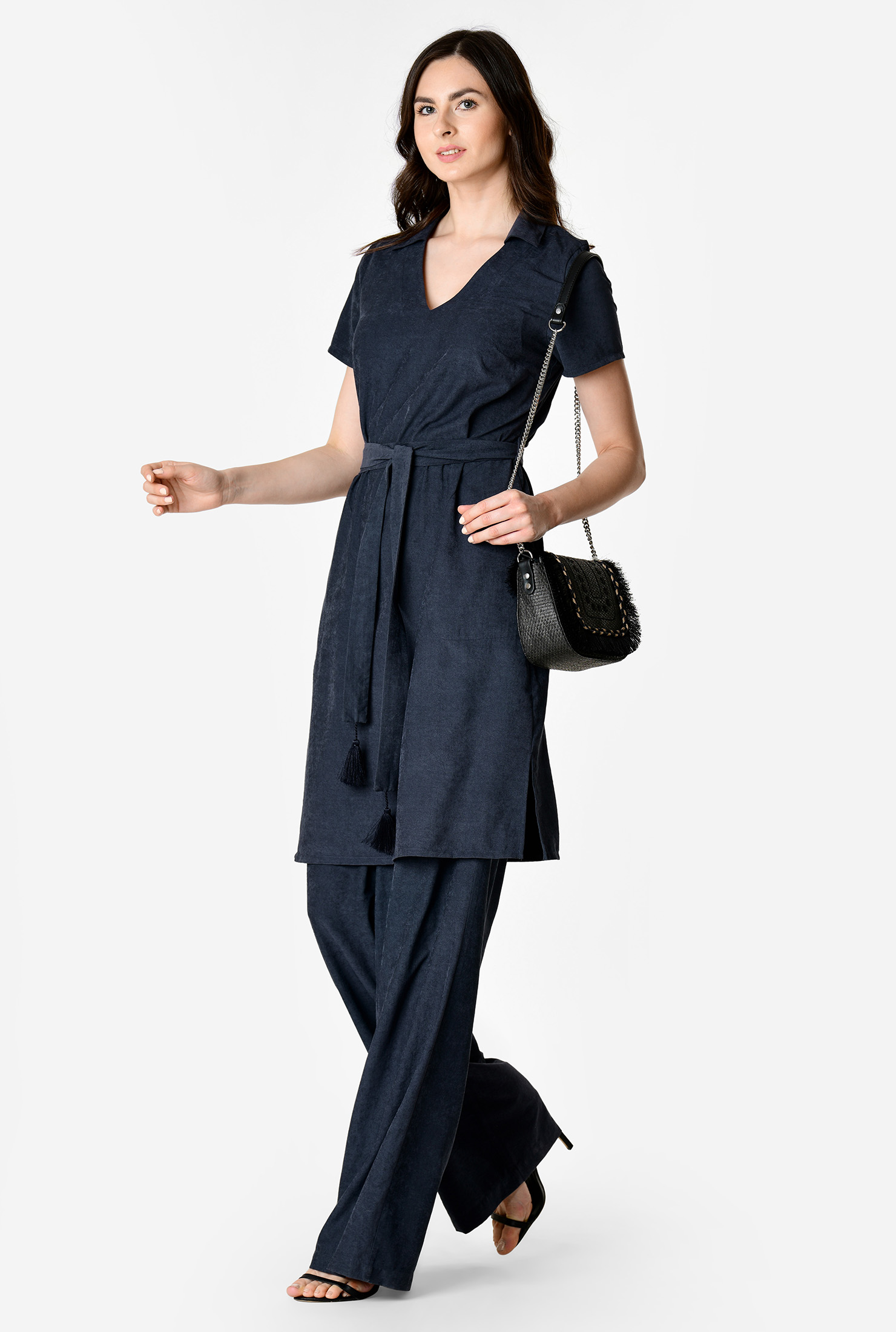 70s Dresses – Disco Dresses, Hippie Dresses, Wrap Dresses Sash tie twill tunic top and wide leg pants $69.95 AT vintagedancer.com