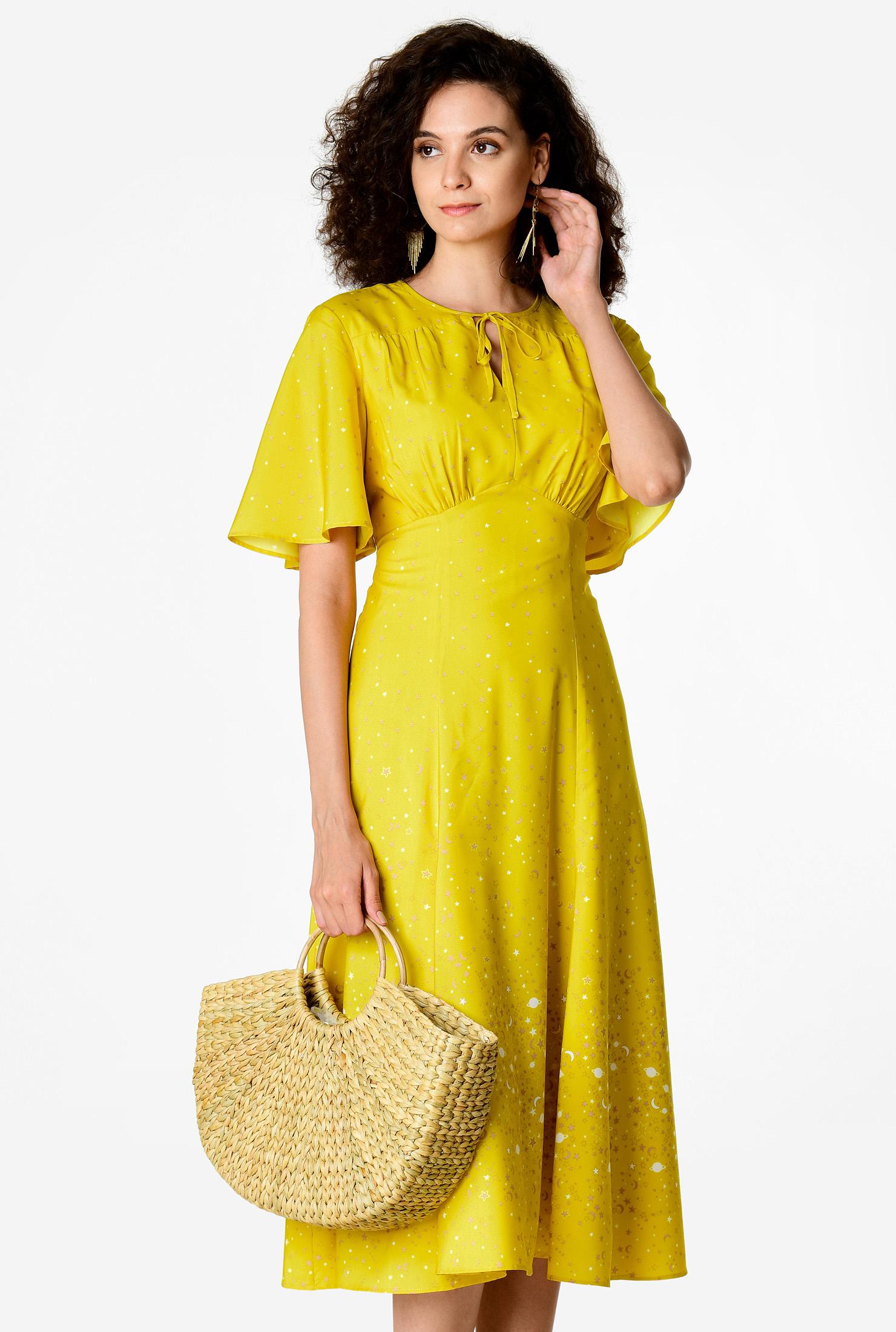 1930s Day Dresses, Afternoon Dresses History Flutter sleeve star print crepe empire dress $79.95 AT vintagedancer.com