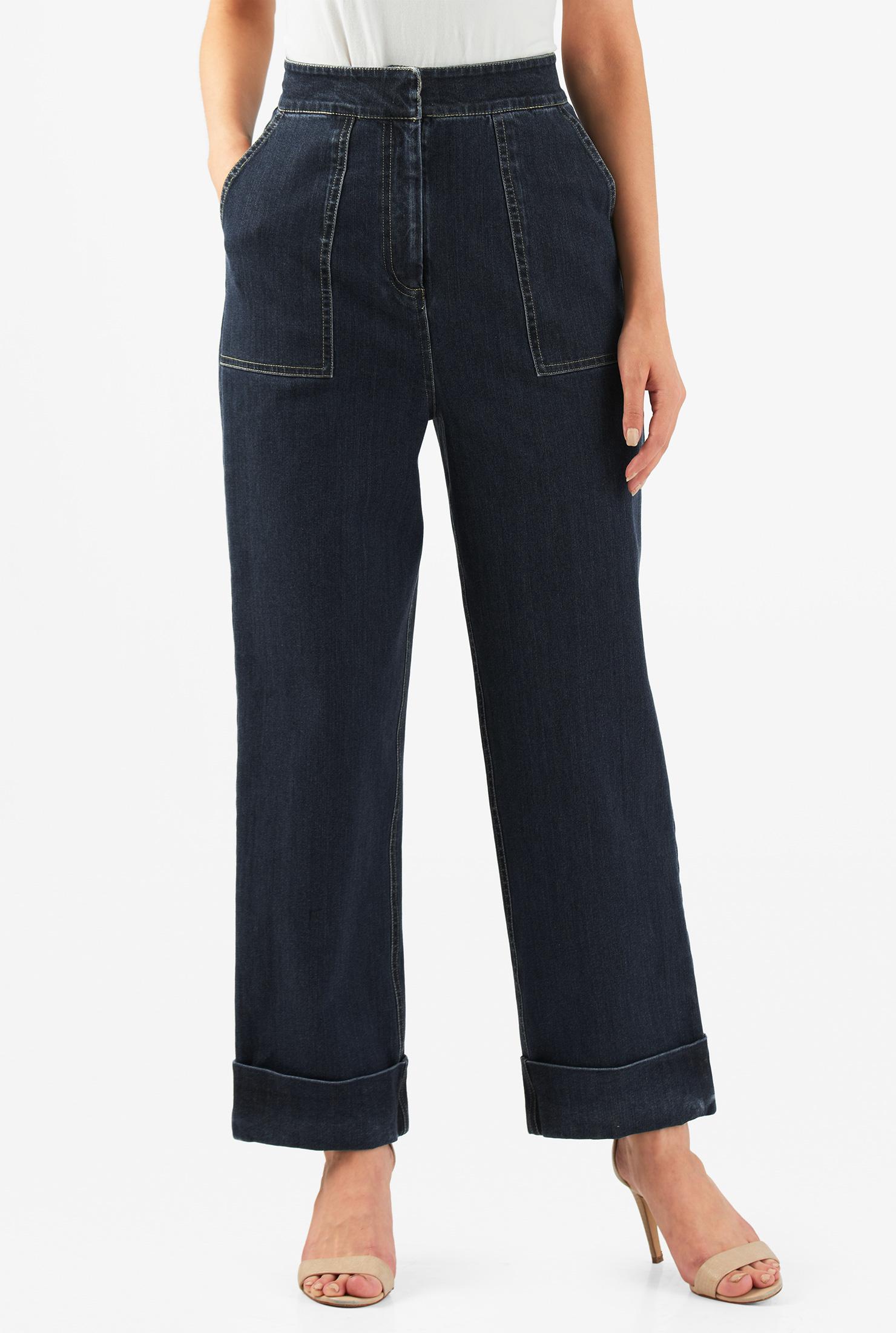 1950s Pants & Jeans- High Waist, Wide Leg, Capri, Pedal Pushers High rise deep indigo denim crop jeans $84.95 AT vintagedancer.com