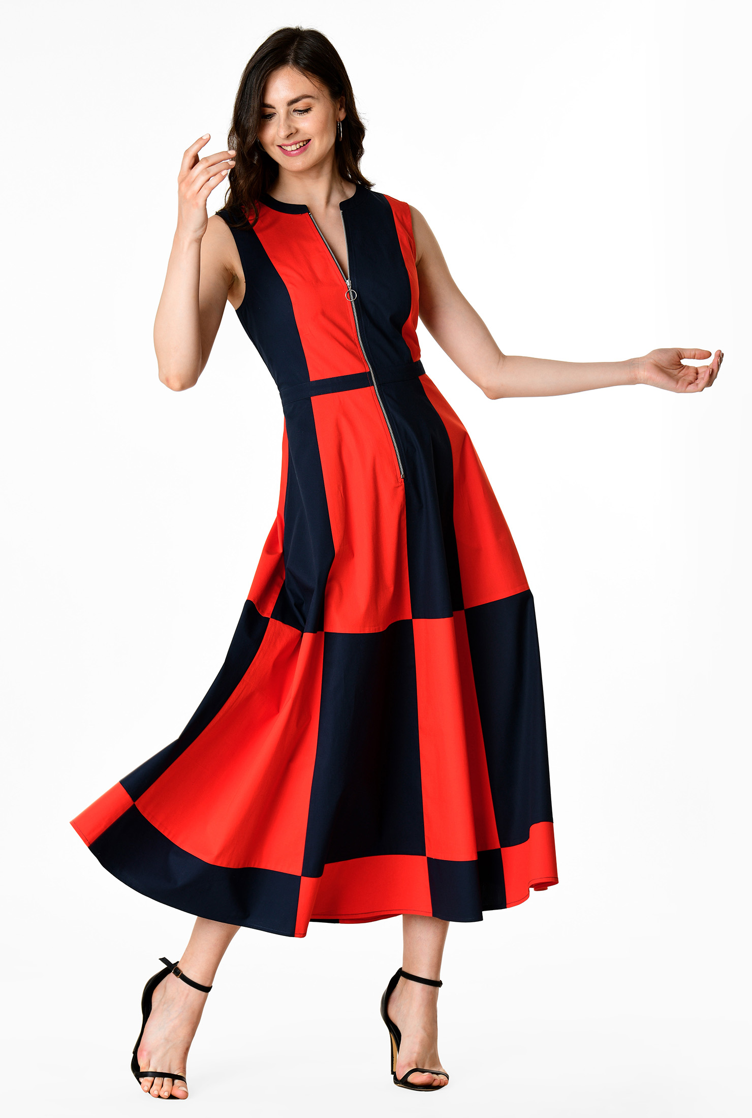 1960s Dresses | 60s Dresses Mod, Mini, Jackie O, Hippie Zip front colorblock cotton poplin dress $64.95 AT vintagedancer.com
