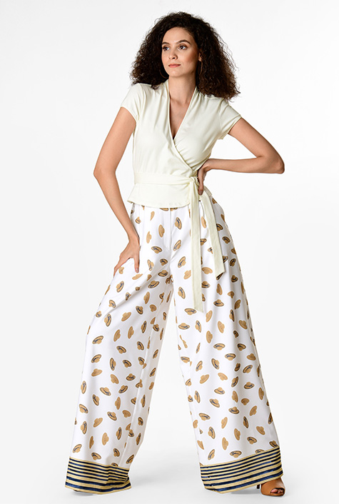 1930s Wide Leg Pants and Beach Pajamas Cotton knit wrap top and straw hat print crepe palazzo pants $79.95 AT vintagedancer.com