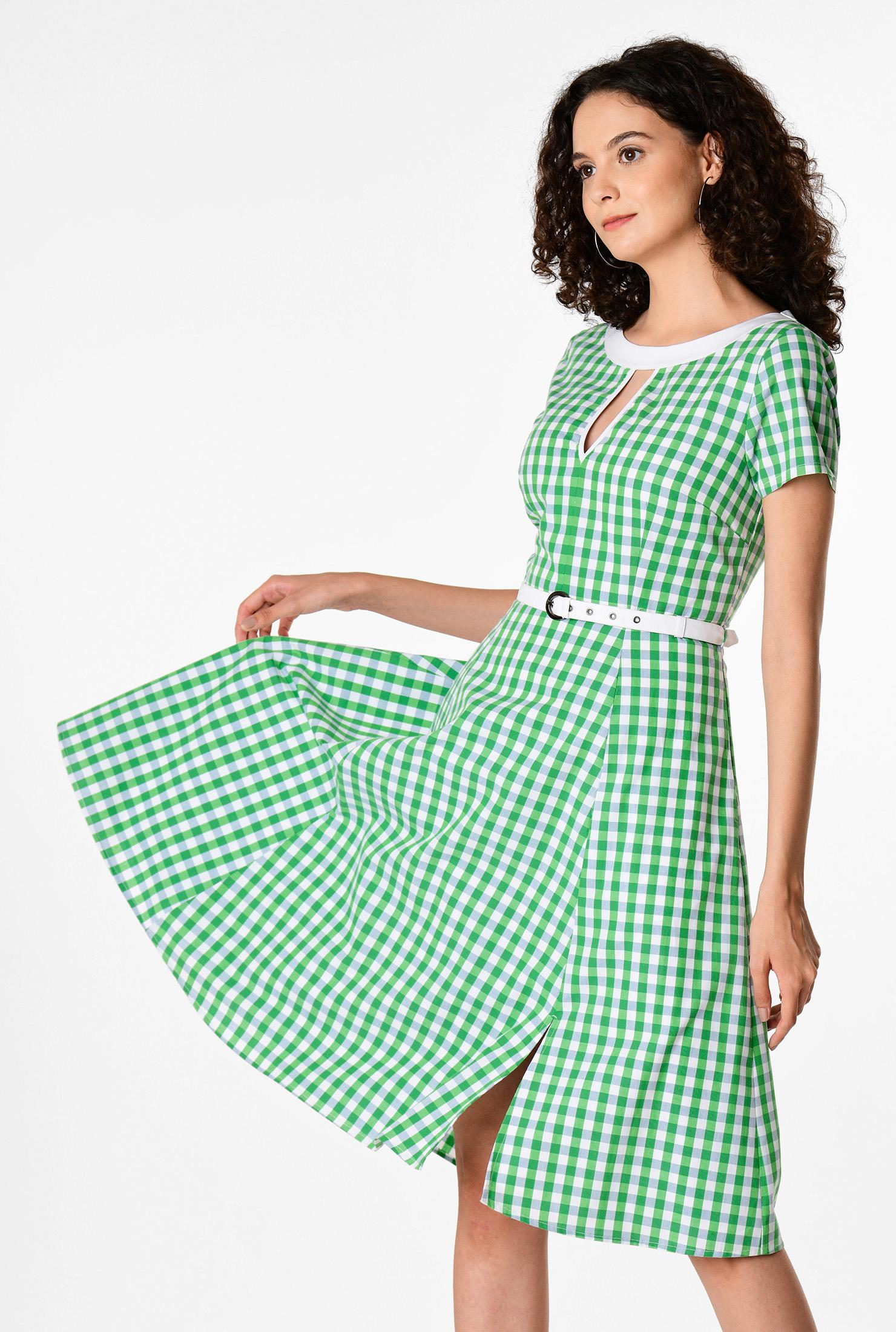 1960s Dresses | 60s Dresses Mod, Mini, Jackie O, Hippie Keyhole front gingham check cotton dress $59.95 AT vintagedancer.com