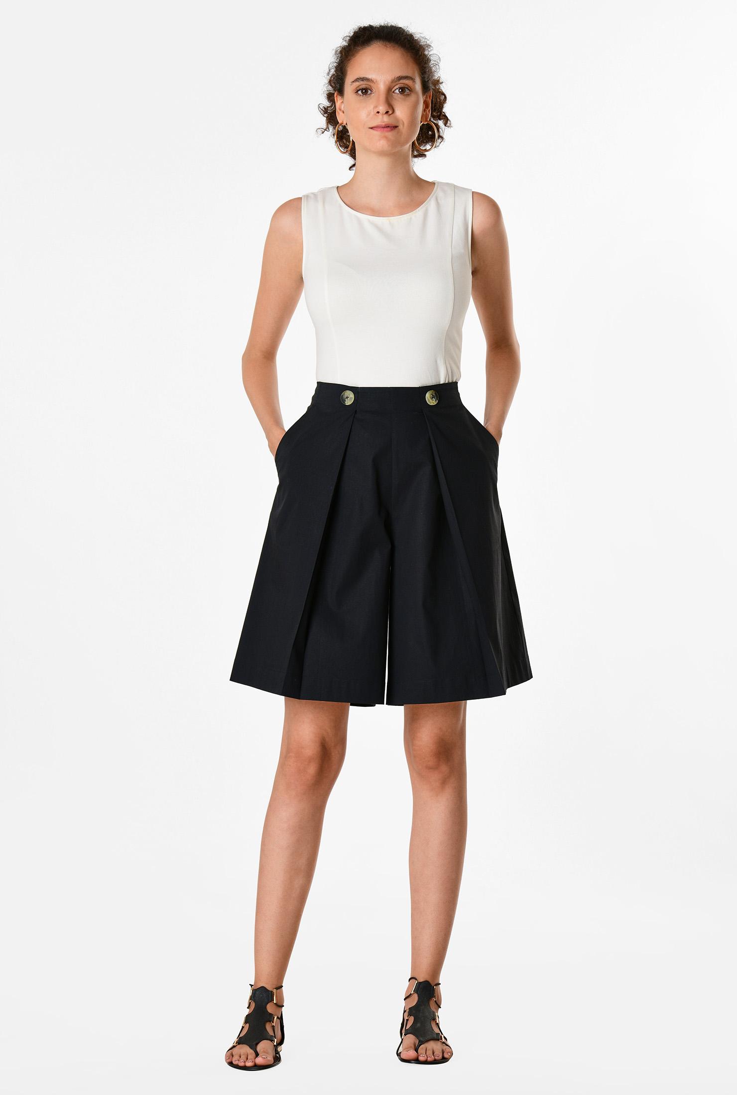 Vintage Shorts, Culottes,  Capris History Stretch poplin flared shorts $44.95 AT vintagedancer.com