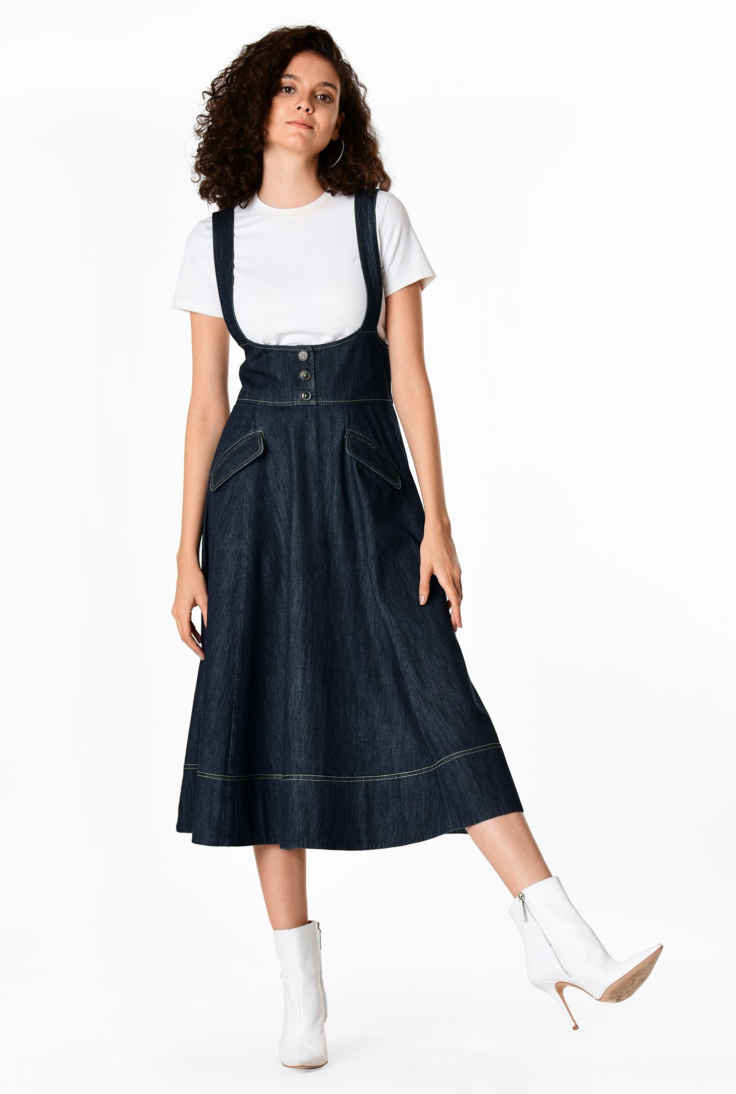 Deep indigo denim button jumper dress