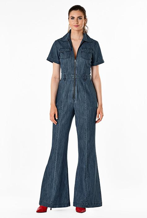 60s – 70s Pants, Jeans, Hippie, Bell Bottoms, Jumpsuits Zip front cotton denim jumpsuit $74.95 AT vintagedancer.com
