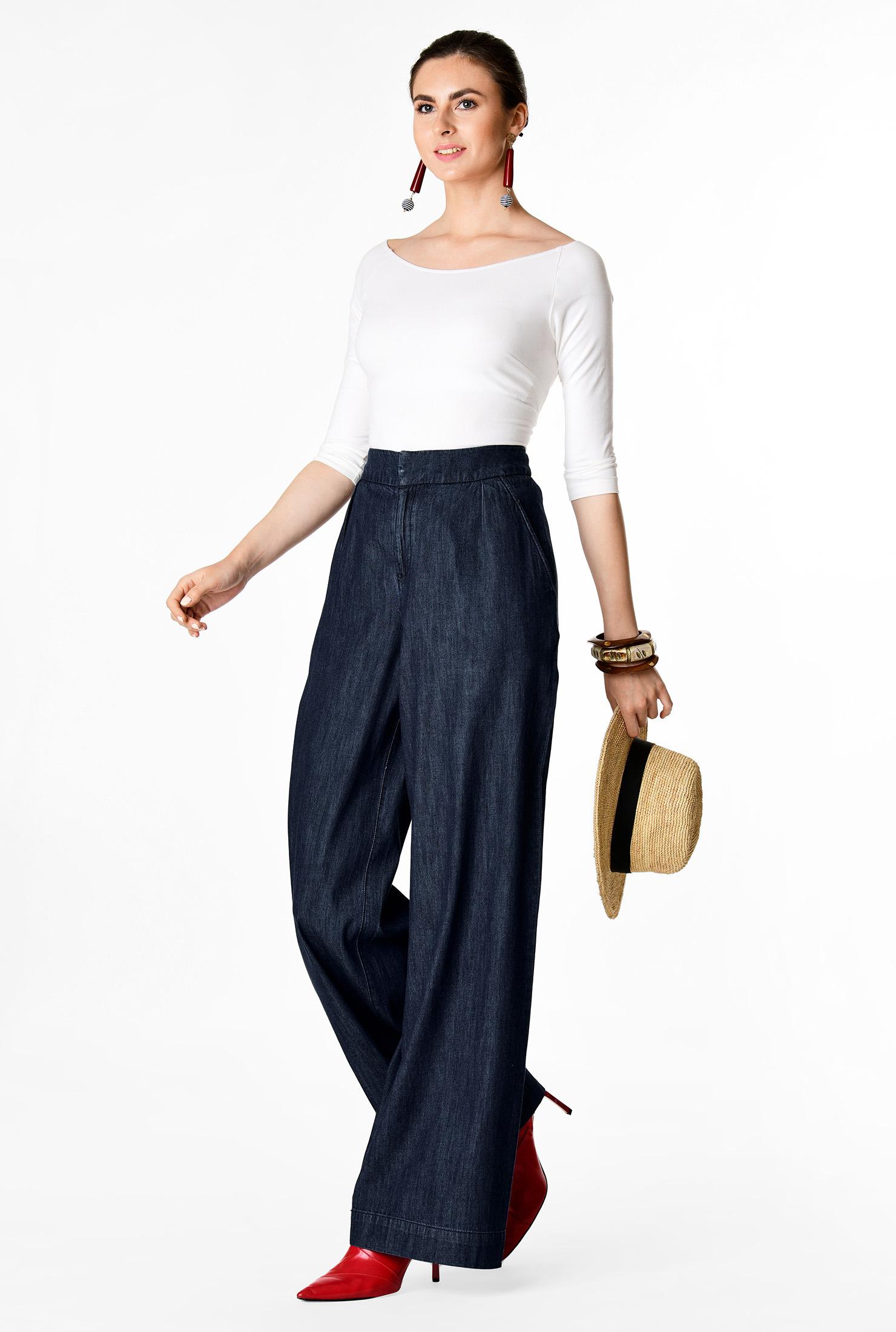 1930s Wide Leg Pants and Beach Pajamas Cotton denim palazzo pants $69.95 AT vintagedancer.com