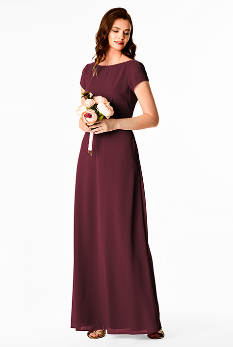 Plunge V-back chiffon maxi dress