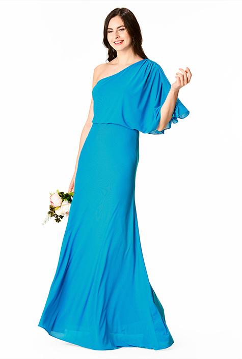 Shirred one-shoulder mesh maxi dress